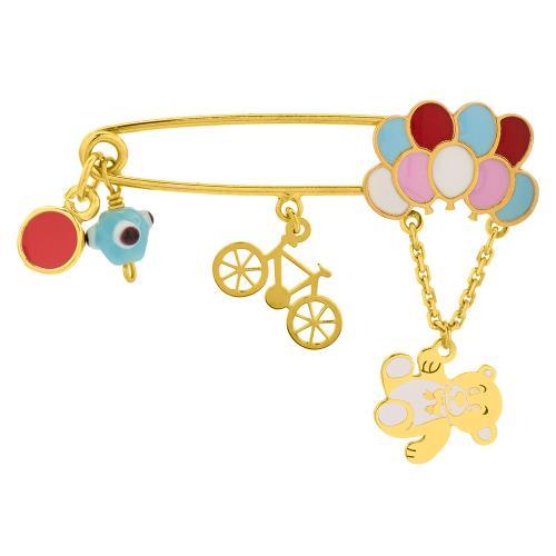 Παραμάνα κίτρινο επιχρυσωμένο ασήμι 925, ποδήλατο, αρκουδάκι με μπαλόνια και μάτι.