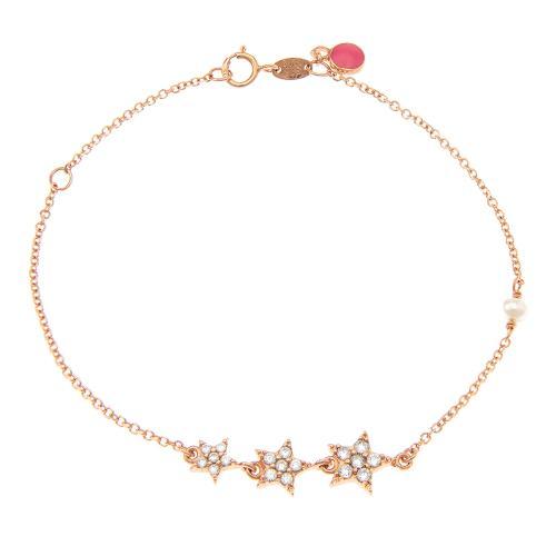 Βραχιόλι ροζ χρυσό Κ9, μαύρα επιροδιωμένα αστέρια με λευκά ζιργκόν.