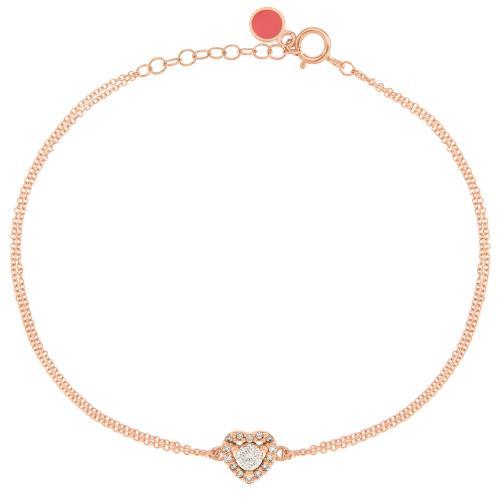 Βραχιόλι ροζ χρυσό Κ14, καρδιά με λευκά ζιργκόν.