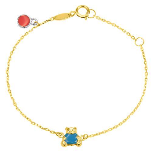 9K Yellow gold children's bracelet, teddy bear.
