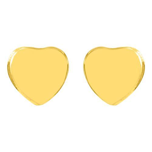 Σκουλαρίκια κίτρινο χρυσό Κ14, καρδιά.