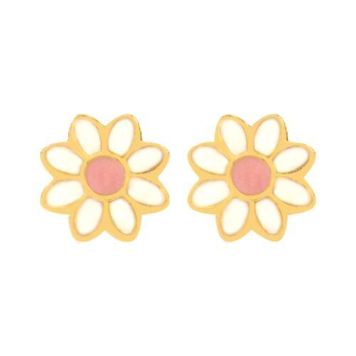 14K Yellow gold children's earrings, flower.