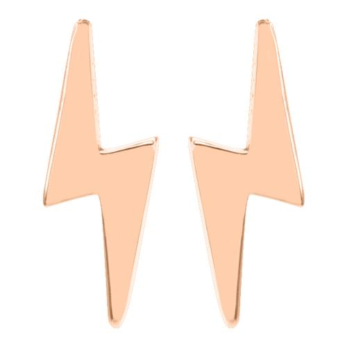 Σκουλαρίκια ροζ χρυσό Κ14, κεραυνός.