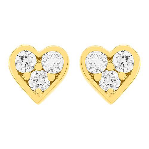 Σκουλαρίκια κίτρινο χρυσό Κ18 με μπριγιάν 0.152ct, καρδιά.