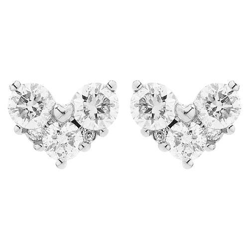 Σκουλαρίκια λευκόχρυσο Κ18 με μπριγιάν 0.46ct, καρδιά.