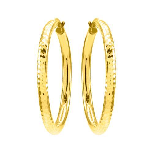 Kρίκοι σφυρίλατοι κίτρινο χρυσό Κ9.