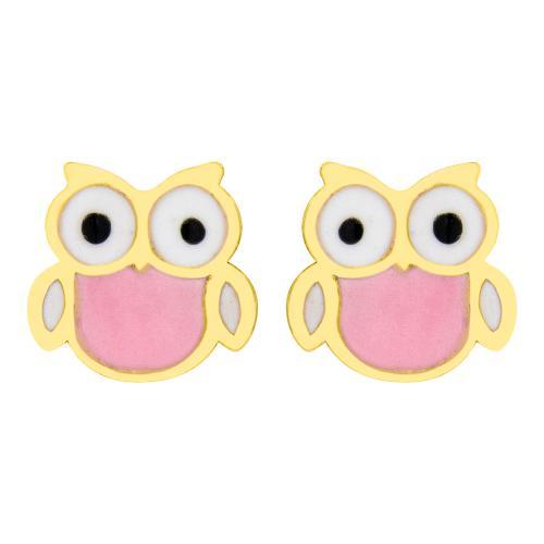 """14K Yellow gold children""""s earrings, owl."""