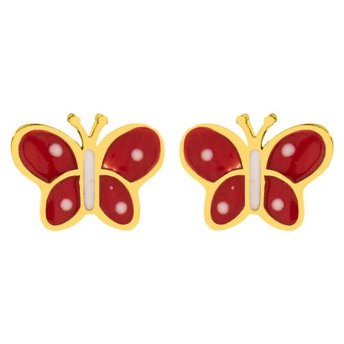 "14K Yellow gold children""s earrings, butterflies."