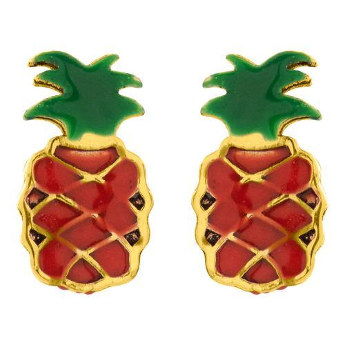 """14K Yellow gold children""""s earrings, pineapple."""