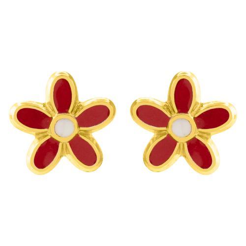 """14K Yellow gold children""""s earrings, flower."""