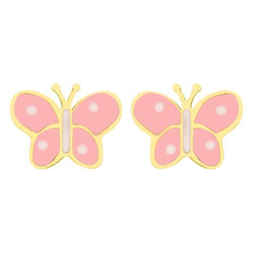 """14K Yellow gold children""""s earrings, butterfly."""