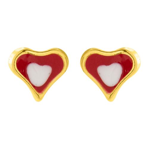 "14K Yellow gold children""s earrings, hearts."
