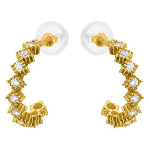 9K Yellow gold hoops, white cubic zirconia.