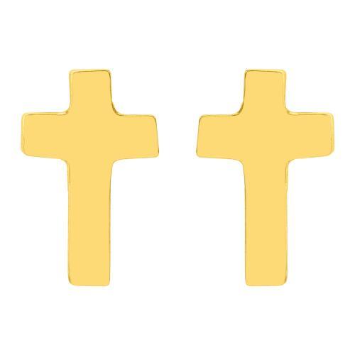 Σκουλαρίκια κίτρινο χρυσό Κ9, σταυρός.