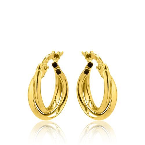 Kρίκοι κίτρινο χρυσό Κ9 διπλοί.