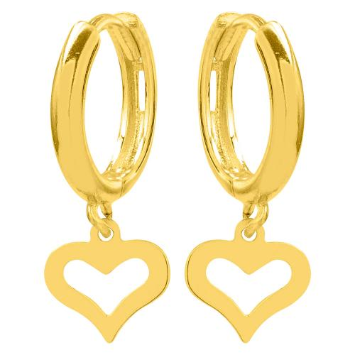 Kρίκοι κίτρινο χρυσό Κ9, καρδιά.