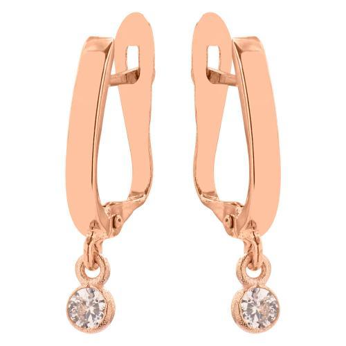 Σκουλαρίκια ροζ χρυσό Κ9, λευκά ζιργκόν.
