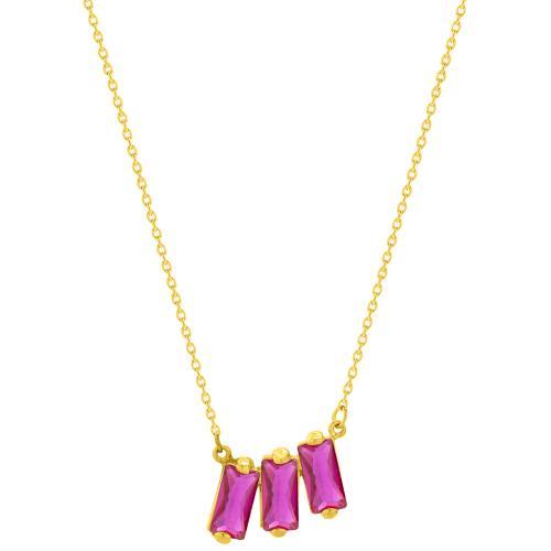 9K Yellow gold necklace, fuchsia cubic zirconia.