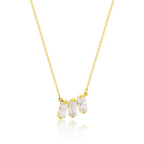 9K Yellow gold necklace, white cubic zirconia.