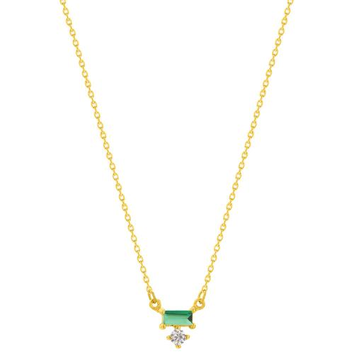 9K Yellow gold necklace, green and white cubic zirconia.