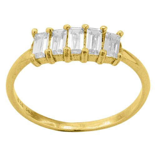 9K Yellow gold ring, white cubic zirconia.