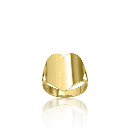 9K Yellow gold ring, heart.