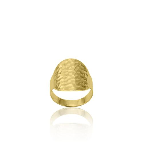 9K Yellow gold ring, hammered.