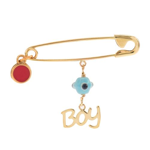 """9K Yellow gold safety pin,""""Boy"""" and evil eye."""