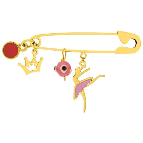 9K Yellow gold safety pin, ballerina crown and evil eye.