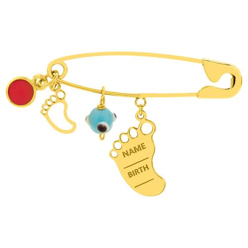 9K Yellow gold safety pin, flittle foot and evil eye.