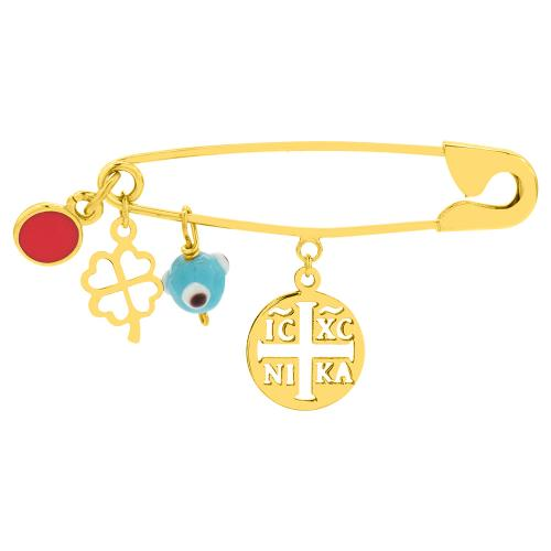 9K Yellow gold safety pin, four leaf clover and evil eye.