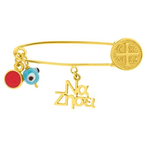 9K Yellow gold safety pin, coin and evil eye.