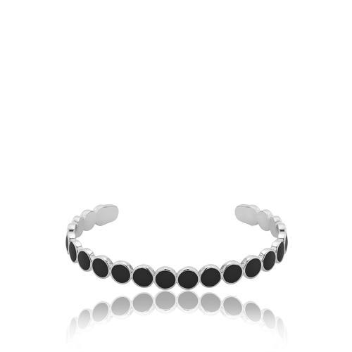 Βραχιόλι λευκό επιροδιωμένο μέταλλο, κύκλοι με μαύρο σμάλτο.