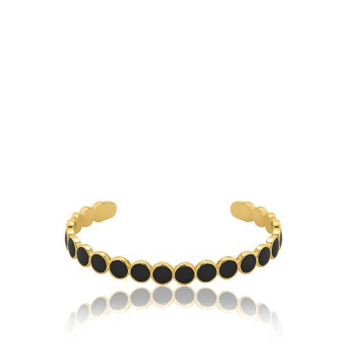 Βραχιόλι κίτρινο επιχρυσωμένο μέταλλο, κύκλοι με μαύρο σμάλτο.
