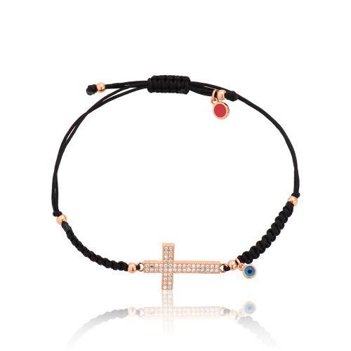 Βραχιόλι μαύρο μακραμέ, ροζ επιχρυσωμένο μέταλλο, σταυρός με λευκά ζιργκόν και μάτι.