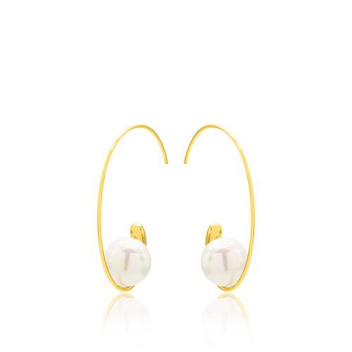 Σκουλαρίκια κίτρινο επιχρυσωμένο μέταλλο, μαργαριτάρια.
