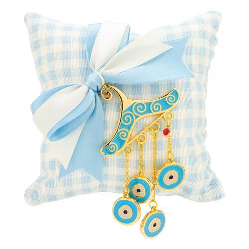 Παιδικό γούρι κίτρινο επιχρυσωμένο μέταλλο, μαξιλάρι και μάτια από γαλάζιο σμάλτο.