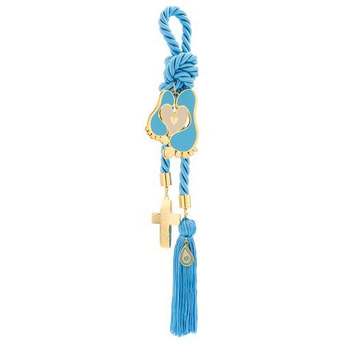 Παιδικό γούρι κίτρινο επιχρυσωμένο μέταλλο, σταυρός και πατούσες με μπλε σμάλτο.