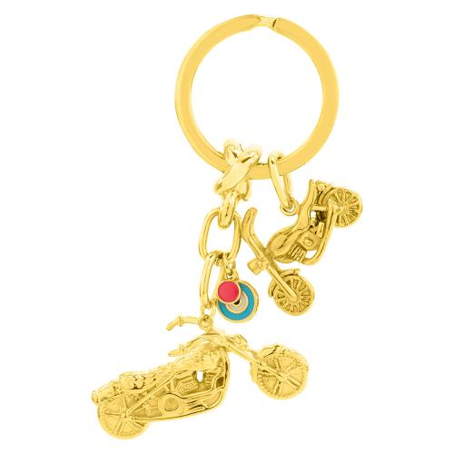 Yellow gold plated alloy key ring, turquoise enamel evil eye and motorcycles.