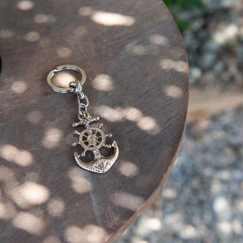 Rhodium plated alloy key ring, anchor.