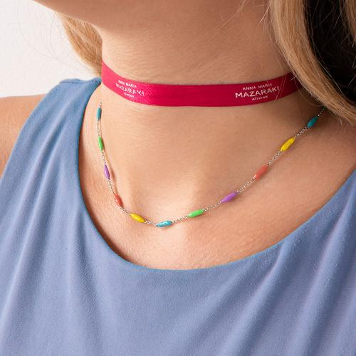 Rhodium plated alloy necklace, multi color enamel balls.