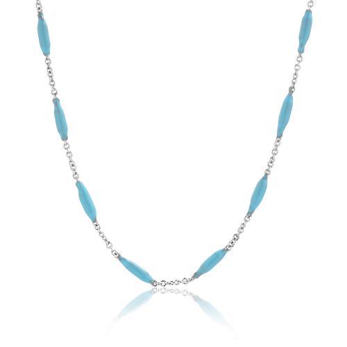 Rhodium plated alloy necklace, turquoise enamel balls.