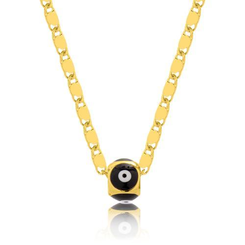 Κολιέ κίτρινο επιχρυσωμένο μέταλλο, αλυσίδα και μάτι με μαύρο σμάλτο.