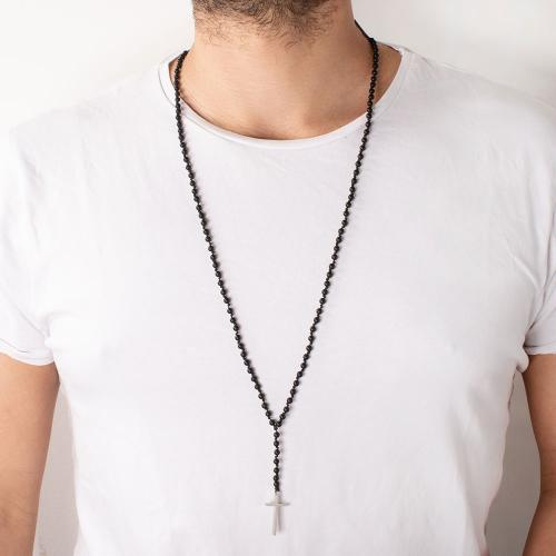 Men's rosary necklace, stainless steel cross and semi precious stones.
