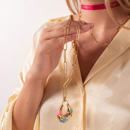 Yellow gold plated alloy necklace, chain with multicolor enamel teardrop.