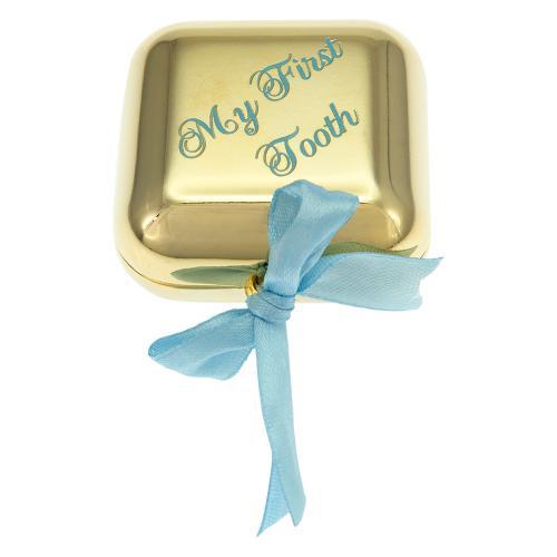 Παιδικό κουτί αναμνήσεων 'My first tooth', κίτρινο επιχρυσωμένο μέταλλο. Διαστάσεις: 4 x 4εκ.