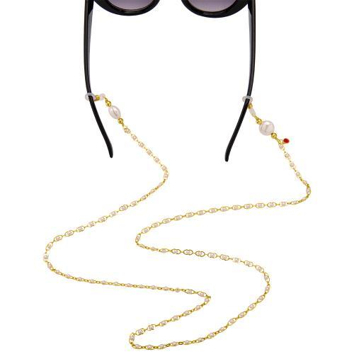 Αλυσίδα γυαλιών, κίτρινο επιχρυσωμένο μέταλλο μαργαριτάρια.