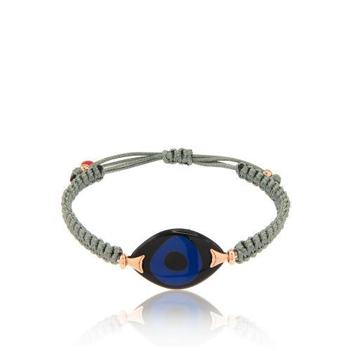 Βραχιόλι γκρι μακραμέ, μαύρο και μπλε μάτι από φίλντισι resin.
