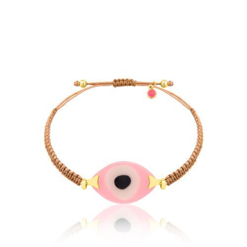 Βραχιόλι μπεζ μακραμέ, ροζ μάτι από φίλντισι resin.