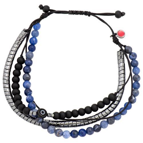 Black macrame bracelet, hemitite, blue semi precious stones and evil eye.